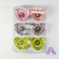 Crystal Candle - 6 Pcs. Heart Shape